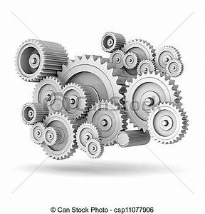 Stock Illustration of mechanical gears isolated on white ...