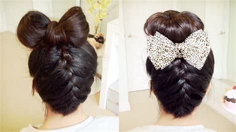 Upside Down French Braid Hair Bow + Sock Bun Updo Hair