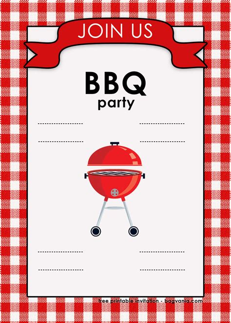 backyard bbq invitation templates  printable