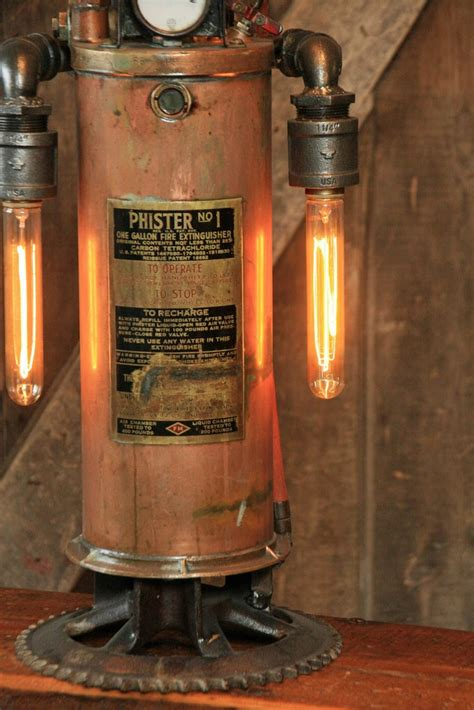 steampunk industrial antique fire extinguisher lamp