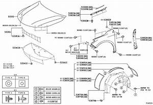 Toyota Avalon Fender Insulator  Right  Front   Body  Hood