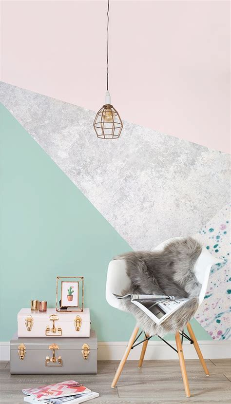 Lovely Pastel Wall Mural Design Ideas by Pink Green Geometric Wall Murals Design Wallpaper