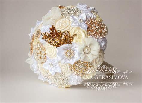 Brooch Bouquet. Ivory White Gold Silver Fabric Bouquet Unique