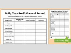 Daily Activities Time Prediction and Record Worksheet