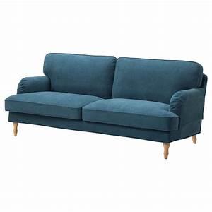 Stocksund three seat sofa tallmyra blue light brown wood for Couch gb sofa