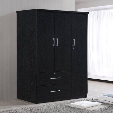 Clothes Armoire With Drawers by Hodedah 3 Door 36 In Wide Armoire With 2 Drawers