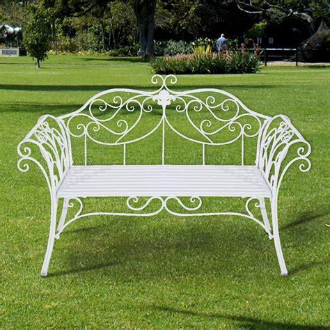 2 seater garden metal bench steel frame white color
