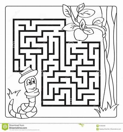 Maze Labyrinth Coloring Puzzle Children Worm Exit