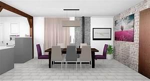 Best salle a manger gris et prune images amazing house for Deco cuisine avec salle À manger design