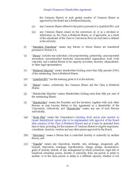 sample unanimous shareholder agreement