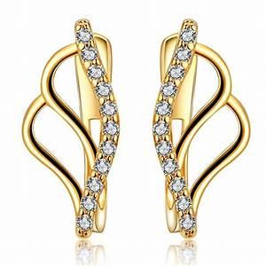 wholesale stud earrings 24k gold plated aaa zirconia With bijoux accessoires