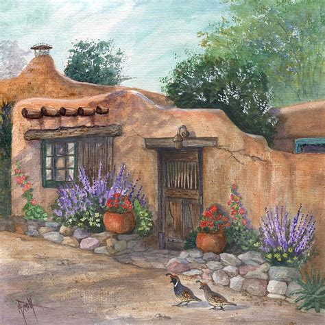 The Cottage Painting by Adobe Cottage Painting By Marilyn Smith