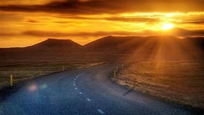 Hdr Sunset Desert Road Nature