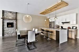 foyer de pierre luminaires qui descendent d39une boite en With luminaire ilot de cuisine