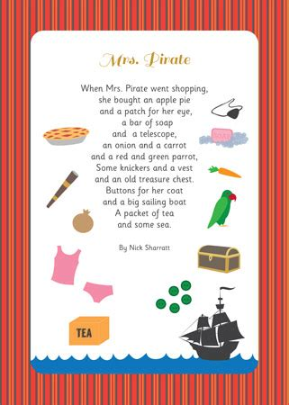 early learning resources  pirate illustrated poem