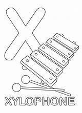 Letter Xylophone Coloring sketch template