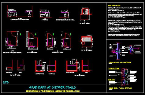 ada bathroom cad blocks cad drawing ada grab bars at stalls