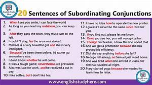 20 Sentences Of Subordinating Conjunctions