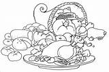 Coloring Dinner Turkey Thanksgiving Feast Pages Printable Getcolorings Print sketch template