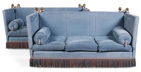 Knowle Settee by Sotheby S A Pair Of Blue Chenille Upholstered Knowle