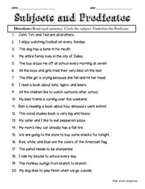 best 25 subject and predicate worksheets ideas on pinterest subject and predicate subject