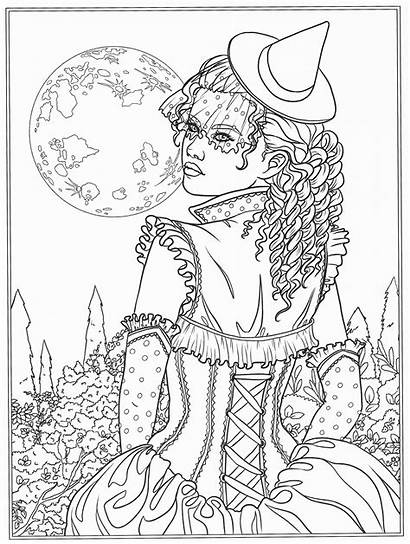 Coloring Pages Fantasy Dark Books Gothic Witch