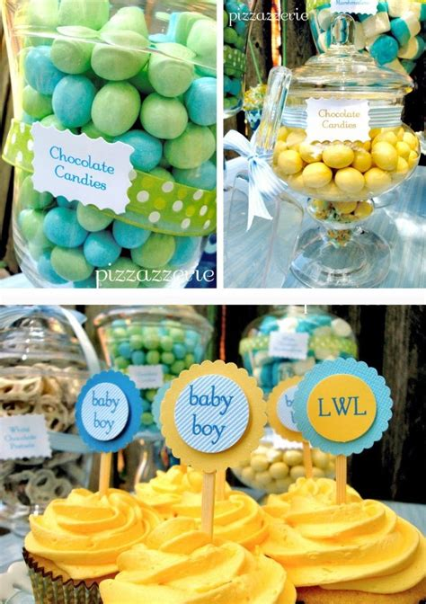 pale blue yellow baby shower guest feature celebrations  home