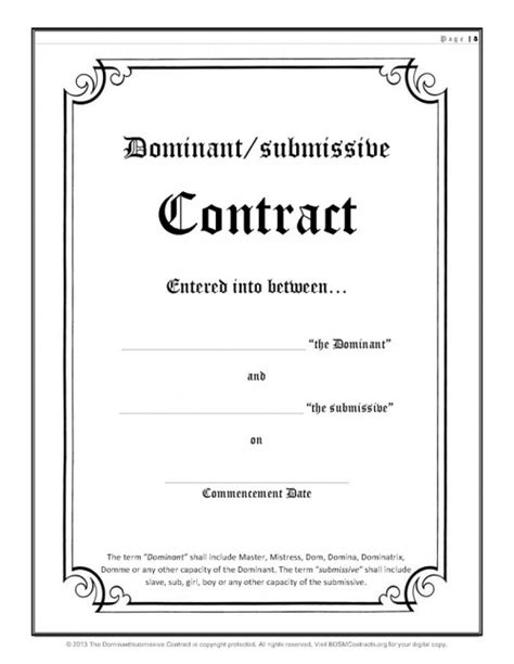 dom sub contract template free contract
