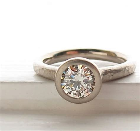 1ct and recycled white gold pebble ring engagement solitaire bezel