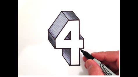 How To Draw The Number 4 In 3d