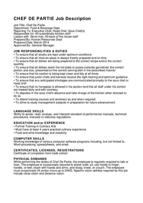 chef de cuisine description resume format chef de partie cv format