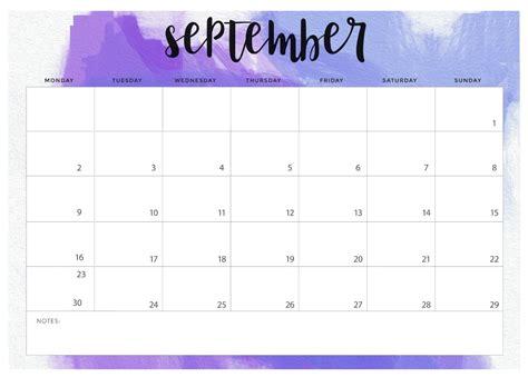 september  blank template calendar calendar