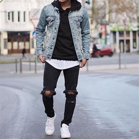 Pin Lookastic Denim Jackets Mens Style