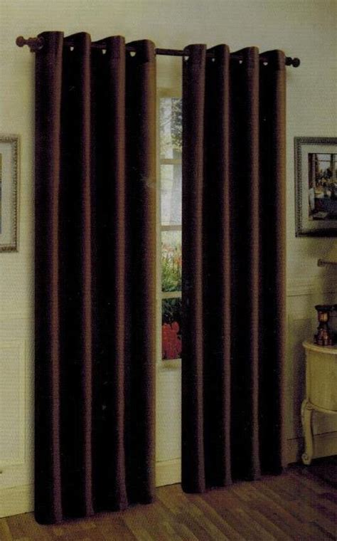 2pc brown coffee faux silk grommet window curtain drapes
