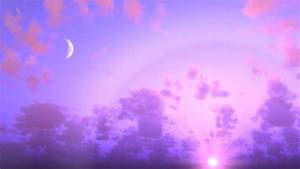 Sunset sky Moon cloudy pink purple clouds Motion ...