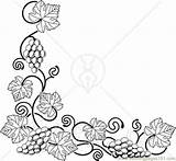 Coloring Corner Grapes Edge Left Bottom Printable Ong Vines Grape Fruits Adults Vine Drawing Flower Coloringpages101 Adult Paper Border Sheets sketch template