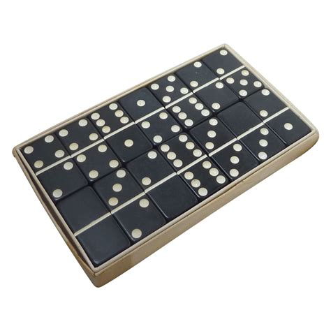 black extra thick marblelike dominoes game set box