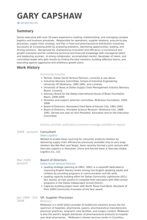 board of directors cv exle visualcv resume sles
