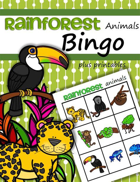jungle animals preschool rainforest animals bingo 132