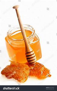 Honeycomb Wooden Stick Isolated On White Stock Photo ...