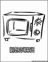 Oven Coloring Kitchen Microwave Pages Printable Colouring Template sketch template