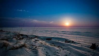 Sunset Desert Frozen Lake Clouds Snow