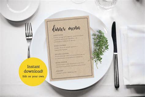 menu card template elegant wedding menu printable