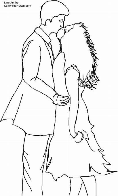 Coloring Pages Kiss Band Romantic Couple Kissing