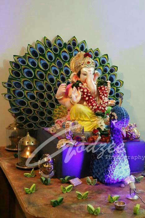 ganesh decoration quilling peacock eco friendly ganpati