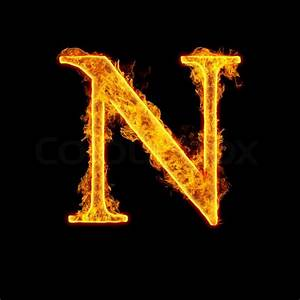 Fire alphabet letter N isolated on black background ...