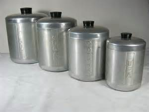 Vintage Kitchen Canister Vintage Aluminum Canisters Retro 50s By Lavendergardencottag