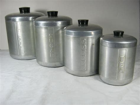 Vintage Kitchen Canister Set by Vintage Aluminum Canisters Retro 50s Canister Set 4