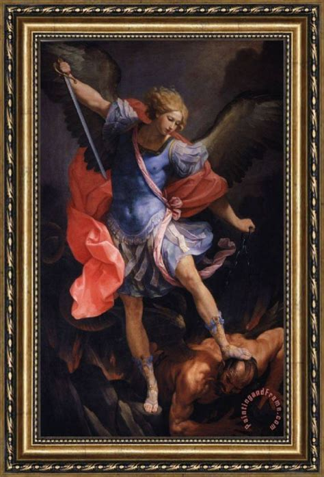 guido reni  archangel michael defeating satan framed painting  sale paintingandframecom