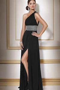 black one shoulder sleeveless side slit chiffon wedding With one shoulder dress for wedding guest